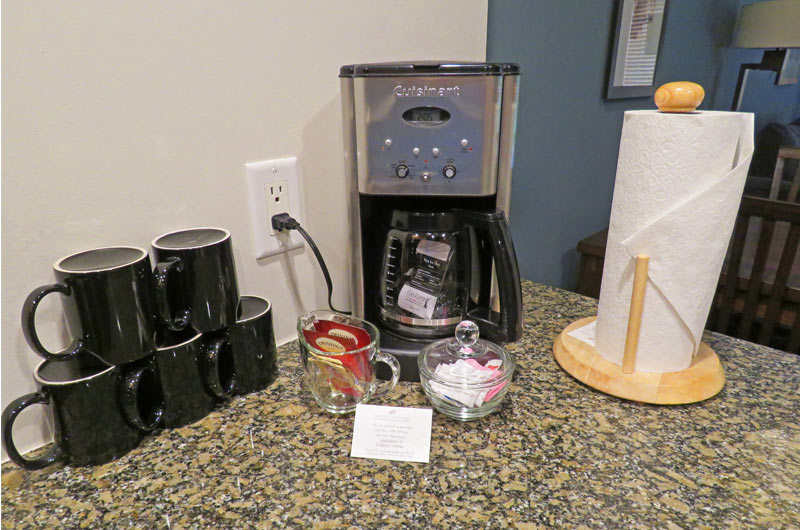 Coffee maker in bedroom